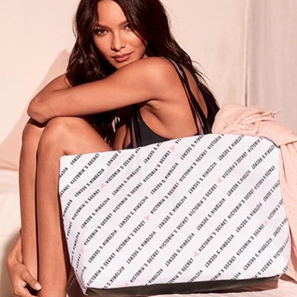 Victoria's Secret Handbags - NWT Victoria's Secret Logo Tote Bag - Black/White